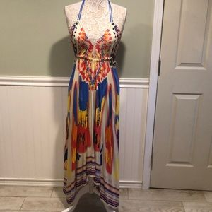 Flying Tomato Colorful Rayon Halter Maxi Dress